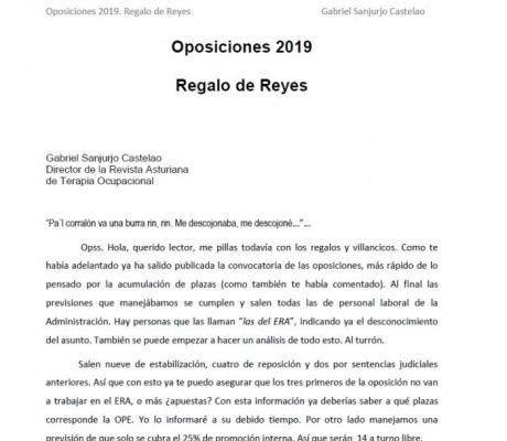 OPOSICIONES 2019, REGALO DE REYES. Gabriel Sanjurjo Castelao