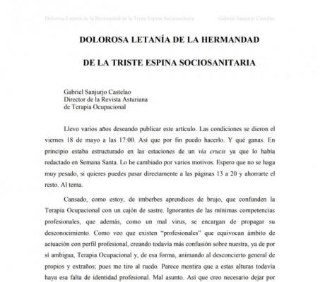 Dolorosa Letanía de la Hermandad de la Triste Espina Sociosanitaria censurada. Gabriel Sanjurjo Castelao