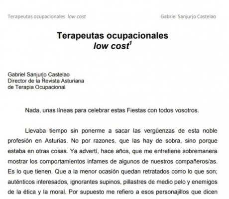 TERAPEUTAS OCUPACIONALES LOW COST . Gabriel Sanjurjo Castelao