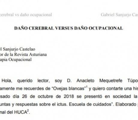 DAÑO CEREBRAL VERSUS DAÑO OCUPACIONAL. Gabriel Sanjurjo Castelao
