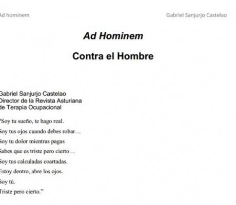 Ad Hominem. Contra el hombre. Gabriel Sanjurjo Castelao